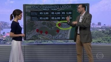 Veja a nova tabela de preços do estacionamento no entorno da Lagoa - Novo sistema adotado para cobrança de estacionamento começa a ser testado nesta sexta-feira (15).