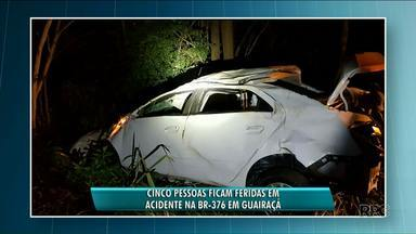 Cinco pessoas ficam feridas em acidentes na BR-376 - Em um dos acidentes o motorista perdeu o controle do carro ao desviar de uma capivara.
