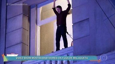 Veja os bastidores da prisão de Malagueta em 'Pega Pega' - Dublê ajudou nas gravações da fuga espetacular do personagem de Marcelo Serrado na novela das sete