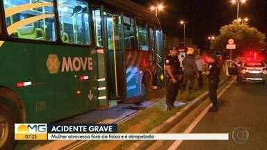 Mulher é atropelada por ônibus do Move na Região Noroeste de Belo Horizonte - Segundo a PM, ela sofreu um traumatismo craniano após atravessar fora da faixa.