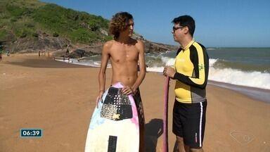 Papo de atleta: Pierre conversa com atleta de skimboard - Modalidade mistura surf e skate.