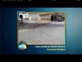 VC no MG: buraco em avenida de Valadares é tapado após reclamação de morador - Reabertura de uma escola municipal em Santa Efigênia de Minas é pedido por morador.
