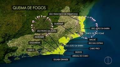 Confira o esquema de queima de fogos nas cidades do interior do Rio - Assista a seguir.