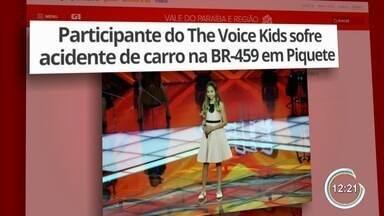 Participante do The Voice Kids sofre acidente de carro na BR-459 em Piquete - Ela ia com a família para o litoral norte.