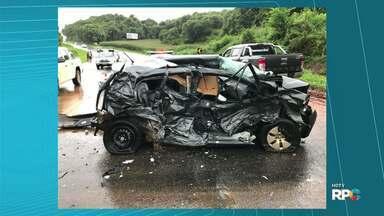 Homem de 36 anos fica ferido em acidente na BR 277, em Virmond - Foi depois de um batida entre carro e caminhonete.