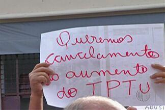 Houve manifestação contra aumento do IPTU durante entrega do segundo túnel em Mogi - O reajuste do IPTU foi em mais de 60%.