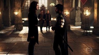 Rodolfo não dá importância para Cássio - Cássio aconselha o rei a averiguar melhor o reino de Alcaluz antes de se casar com Lucrécia