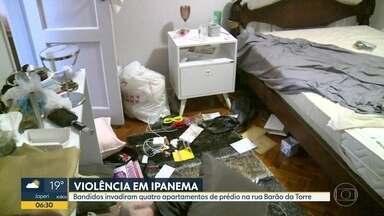 Em Ipanema, bandidos invadem apartamentos e amarram família - Moradores ficaram presos no banheiro enquanto os assaltantes roubavam pertences