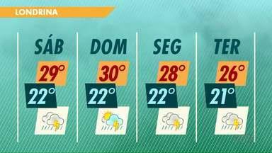 Carnaval deve ser com chuva no norte do Paraná - Sábado e domingo (11) a temperatura ainda permanece alta. A partir de segunda-feira o calor diminui um pouco.