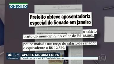 Crivella vai receber R$ 12.540,00 do Senado - Aposentadoria corresponde a cerca de 1/3 do salário de senador. Prefeitura afirmou que Marcelo Crivella vai abrir mão do salário de prefeito.