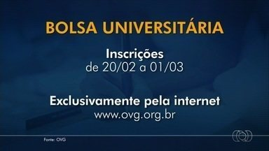 OVG abre seleção para preencher 10 mil bolsas de estudo em Goiás - Podem concorrer ao Programa Bolsa Universitária (PBU) estudantes com renda familiar de até seis salários mínimos. Cadastro vai até 1º de março exclusivamente pela internet.