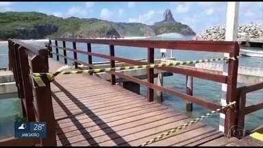 Ondas grandes danificam porto de Fernando de Noronha - Foi o primeiro swell registrado em 2018