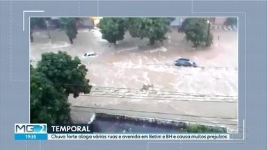 Temporal alaga ruas e avenidas de Belo Horizonte e Região Metropolitana - Chuva forte caiu na tarde deste sábado