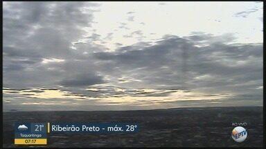 Confira previsão do tempo para terça-feira (27) em Ribeirão Preto - Há possibilidade de pancadas de chuva durante a noite.
