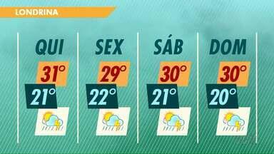 Próximos dias devem ser com sol e chuva na região de Londrina - A temperatura permanece alta e a sensação de abafamento também.