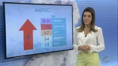 Confira a previsão do tempo para o fim de semana em Campinas e região - Sol ainda aparece e previsão de chuva no final da tarde. Em Amparo, os índices de raio ultravioleta atingem o nível altíssimo.