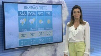 Veja a previsão do tempo para este sábado (10) na região de Ribeirão Preto - São esperados cerca de 13 milímetros de chuva em algumas cidades.