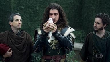 Rodolfo tem problemas com seu pombo-correio - O rei pretendia enviar uma mensagem de vitória ao povo de Montemor, mas acaba se frustrando