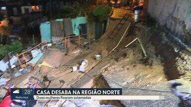 Duas mulheres que foram soterradas nesta sexta seguem internadas no Hospital João XXIII - Um desmoronamento de terra aconteceu no bairro Primeiro de Maio, na Região Norte de Belo Horizonte. O barranco levou parte de uma rua e a casa em que as vítimas estavam.