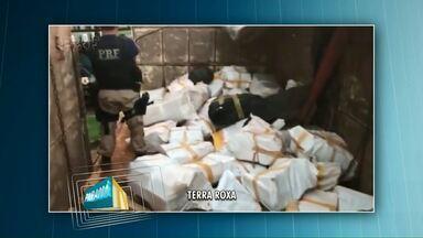 Polícia faz duas grandes apreensões na região Oeste - Em uma das apreensões tinha maconha escondida na carga de grãos, em outra cocaína no fundo falso de um carro.