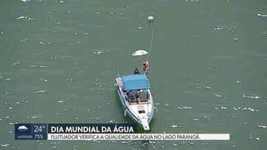 Dia Mundial da Água: flutuador mede qualidade do Lago Paranoá - Levantamento aponta que a água é boa nas proximidades da Ponte JK. Redação Móvel mostra Estação de Tratamento Modular que transforma esgoto dos banheiros do Fórum Mundial em água tratada.