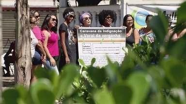 Associação de mulheres promove Caravana da Indignação - Evento teve o objetivo de chamar a atenção para a violência contra as mulheres. Caravana passou por Cubatão, Santos e São Vicente.
