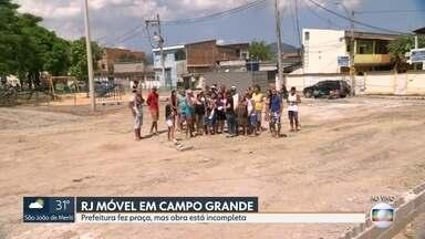 RJ Móvel: Prefeitura deixa praça inacabada em Campo Grande - Promessa é que quadra poliesportiva seja entregue em junho.