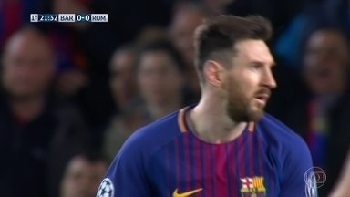 Messi faz um carnaval no ataque e Rakitic bate por cima, aos 21' do 1º tempo - Messi faz um carnaval no ataque e Rakitic bate por cima, aos 21' do 1º tempo.