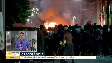 Confusão na Cracolândia termina em depredações - Houve correria e bombas de gás foram usadas contra usuários de drogas.