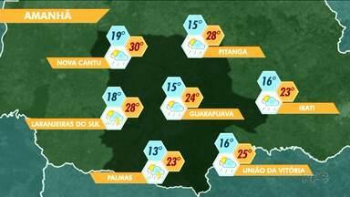 Veja como fica o tempo para Guarapuava e região nesse fim de semana - Previsão é de chuva para o fim de semana