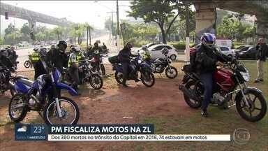 PM faz operação para multar motoqueiros que andam fora da lei em SP - Os policiais foram a 14 avenidas da Zona Leste com alta incidência de crimes e acidentes.