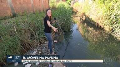 O RJ Móvel foi hoje à Pavuna - Os moradores da rua Comendador Guerra querem a limpeza e canalização do valão. Eles reclamam que tem muitops insetos e que toda vez que chove, a rua enche.