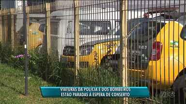 Viaturas da Polícia Militar e dos Bombeiros estão paradas à espera de conserto - Empresa que presta serviços ao governo do estado afirma que tem dinheiro a receber.