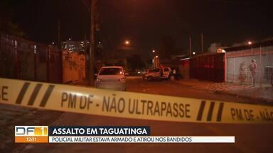 PM reage a assalto e troca tiros com bandidos em Taguatinga - Os ladrões tentaram levar o carro do policial que estava armado e reagiu. Os bandidos ficaram feridos. O PM nada sofreu.