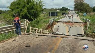 Dnit inicia obras de recuperação em ponte que caiu na BR-265, em Nazareno (MG) - Dnit inicia obras de recuperação em ponte que caiu na BR-265, em Nazareno (MG)