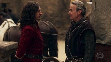 Otávio trai Afonso ao tentar acordo com Rodolfo - O rei da Lastrilha oferece o paradeiro do marido de Amália em troca de boas relações comerciais entre os reinos