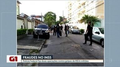 Polícia Federal realiza operação contra golpe no INSS - A Polícia Federal realizou nesta quinta (26) duas operações contra golpes de R$26 milhões no INSS. São 51 mandados de busca e apreensão e 9 mandados de prisão.