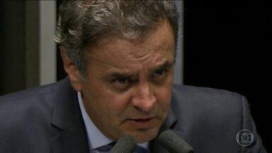 Aécio Neves presta depoimento sobre suposta propina na Usina de Santo Antônio - Senador negou qualquer recebimento de vantagens indevidas