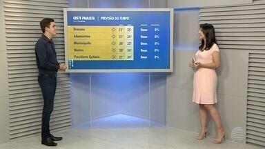 Anderson Camargo traz a previsão do tempo para esta quarta-feira - Confira como ficam as temperaturas na região de Presidente Prudente.