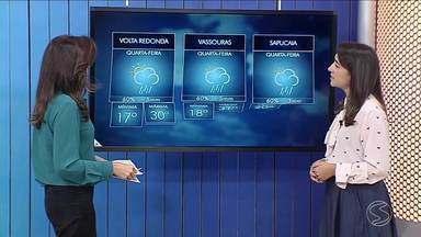 Confira a previsão do tempo para esta quarta-feira - Temperaturas seguem altas e tarde é de sol entre muitas nuvens.