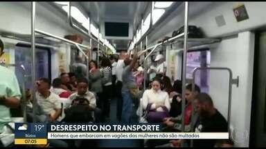 Homens embarcam em vagões femininos e não são multados - Repórter embarcou em composição e conversou com passageira.