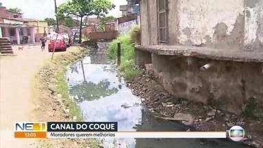 Calendário NE1: Moradores sofrem com acúmulo de lixo e obra parada no canal do Coque - A prefeitura só realizou a obra em metade do canal. A segunda etapa continua ao ar livre e com muito mato. Quando chove, a água do canal invade as casas do bairro.
