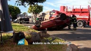Acidentes de trânsito ocorrem na manhã desta sexta-feira no Oeste Paulista - Em um dos casos, automóvel capotou em avenida de Presidente Prudente.