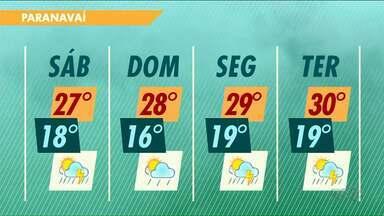 Chuva diminui, mas clima fica ameno neste sábado no Noroeste - As temperaturas máximas serão de 27 graus na região.