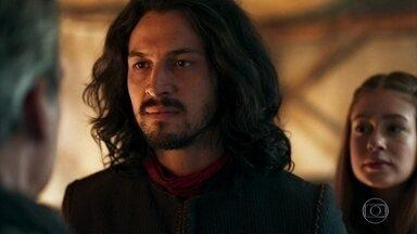 Afonso ameaça Otávio - O Rei de Montemor avisa que seu exército está diante do Castelo de Lastrilha e diz que se Otávio não desistir das terras do Vale de Laios, seus soldados começarão um ataque