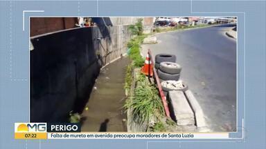 Morador reclama de falta de mureta em avenida do bairro São benedito, em Santa Luzia - Mande também um vídeo fazendo a sua reclamação. O número é 9 9955-9000.
