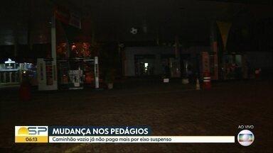 Isenção de cobrança de pedágio para eixo suspenso entra em vigor em SP - Medida faz parte das reivindicações solicitadas pelos caminhoneiros para suspender a greve.