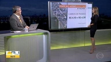 Aumento do pedágio na ponte Rio-Niterói começa a valer hoje - Valor sobe de R$4,10 para R$4,30.