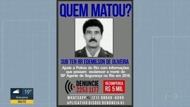 Rio tem 53 policiais militares assassinados em 2018 - O último caso foi do subtenente Edmilson de Oliveira, morto numa tentativa de assalto em Belford Roxo, na Baixada Fluminense.