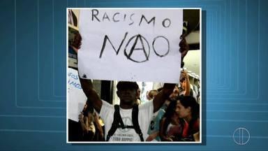 Polícia Civil abre inquérito para investigar denúncia de ato racista em jogos jurídicos - O estudante Maicon Nascimento, atingido por uma casca de banana durante evento em Petrópolis, registrou ocorrência nesta terça-feira (5); 'Não quero ser vítima, mas atos racistas não passarão despercebidos'.